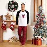 Christmas Family Matching Sleepwear Pajamas Plaids Elk Head Tops and Plaid Pants Family Pajamas Sets