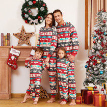 Christmas Family Matching Pajamas Sets Deer Pattern Hooded Jumpsuits