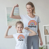 Matching Family Prints Cartoon Rainbow Letter Mom And Me T-Shirts