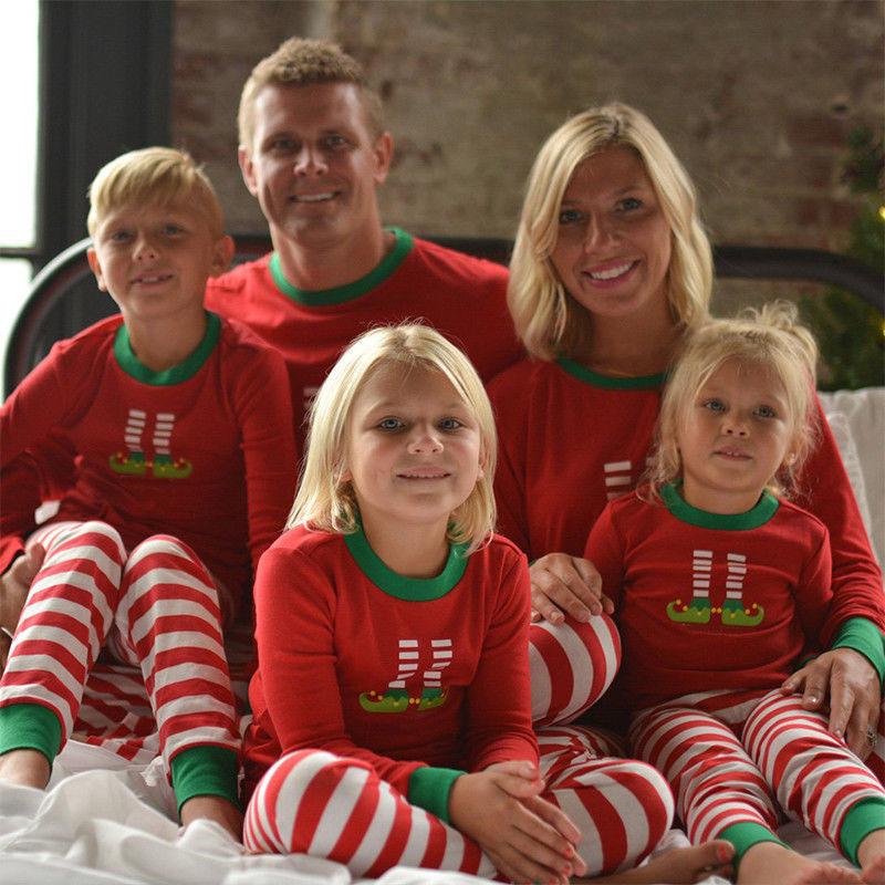 Christmas Family Matching Pajamas Elf Christmas Stocking Tops and Stripes Pants