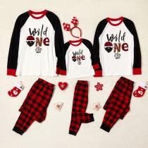Christmas Family Matching Pajamas Sets Wild One Tops and Plaid Pants Family Pajamas Sets