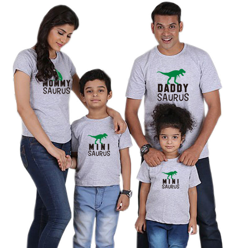 Matching Family Prints Dinosaurs Pure Color Letter Family T-Shirts