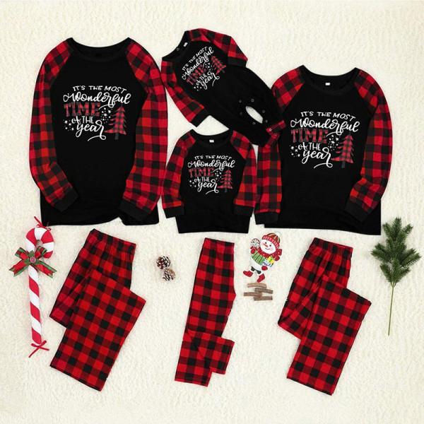 Christmas Family Matching Pajamas Slogan Christmas Tree Top and Plaid Pant