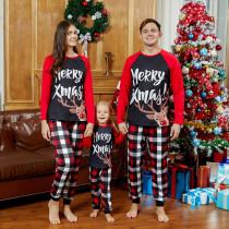 Christmas Family Matching Sleepwear Pajamas Merry Christmas Elk Tops And Plaid Pants Family Pajamas Sets