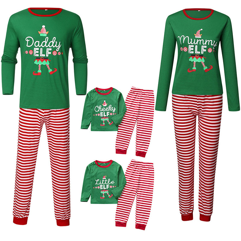 Christmas Family Matching Pajamas Sets Slogan Pattern Prints Tops Stripe Pants