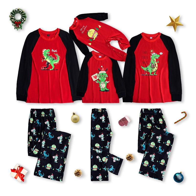 Christmas Family Matching Pajamas Cute Cartoon Dinosaur Family Pajamas Sets