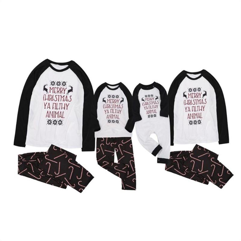 Christmas Family Matching Sleepwear Pajamas Sets Stripes Christmas Slogan Top and Stick Pants