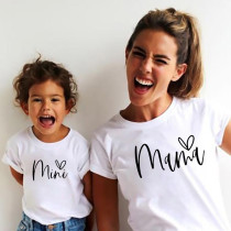 Matching Family Prints Heart MAMA Mom And Me T-shirt Tops