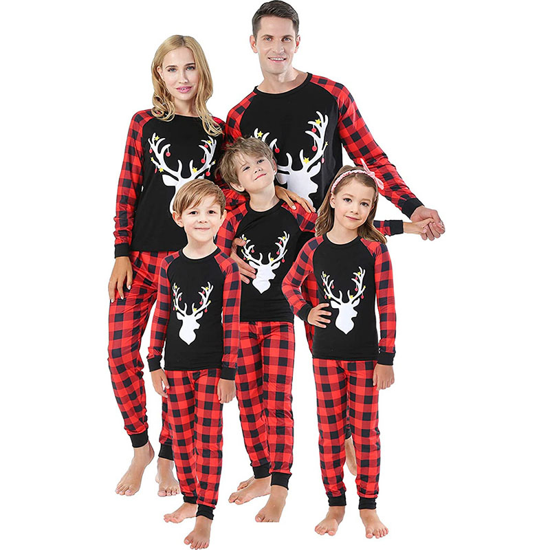Christmas Family Matching Pajamas White Elk Head and Plaid Pant Family Pajamas Sets