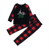 Christmas Family Matching Sleepwear Pajamas Christmas Tree Hat Tops and Plaids Pants Family Pajamas Sets