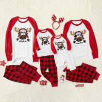 Christmas Family Matching Sleepwear Pajamas Sets Red Elk Tops and Plaid Pants Family Pajamas