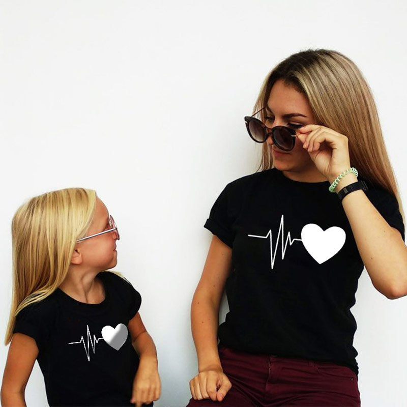 Matching Family Prints Heartbeat Graphic Mom And Me T-Shirts