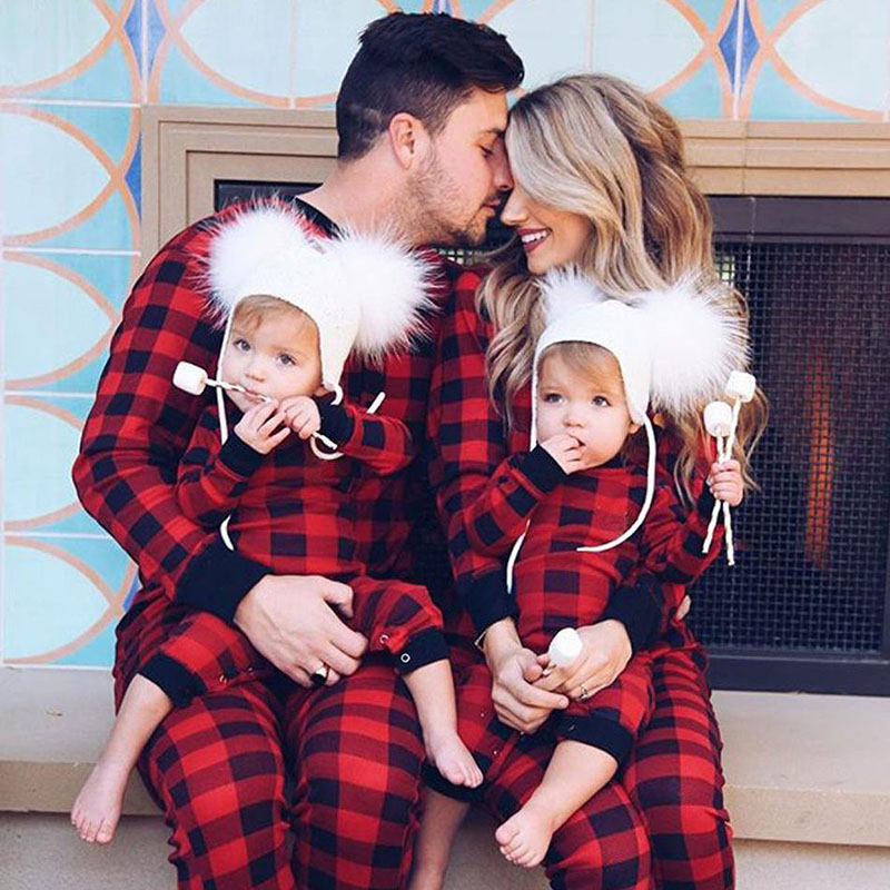 Christmas Family Matching Pajamas Sets Red Plaid Round Collar Jumpsuits