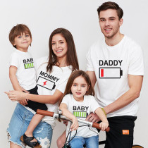 Matching Family Prints Battery Charge Letter Family T-Shirts