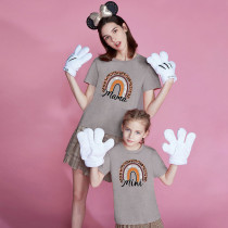 Matching Family Prints Leopard Grain Rainbow Letter Mom And Me T-Shirts