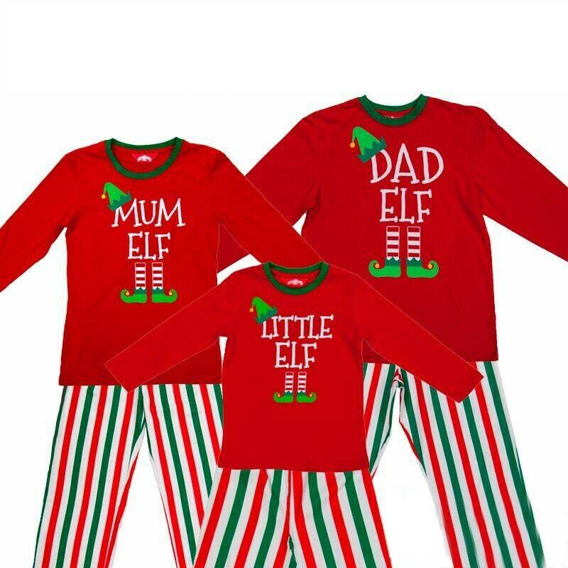 Christmas Family Matching Pajamas Sets Slogan Pattern Prints Tops Vertical Stripe Pants