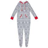 Christmas Family Matching Sleepwear Prints Snow Onesie Jumpsuit Pajamas