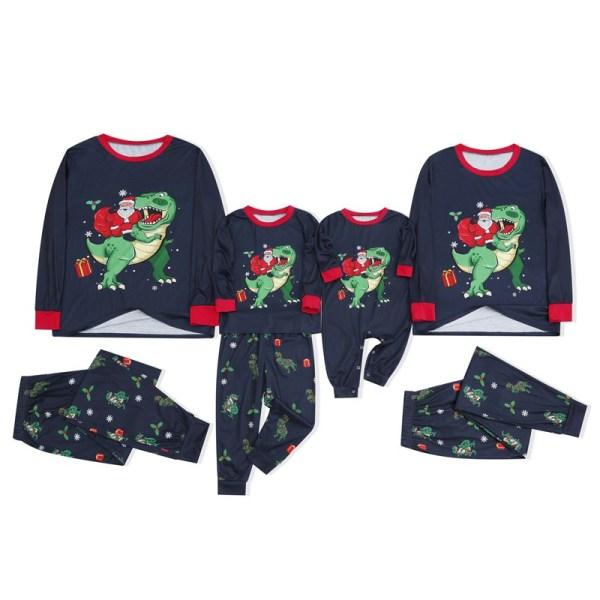 KidsHoo Exclusive Design Navy Santa Claus Dinosaurs Christmas Family Matching Sleepwear Pajamas Sets