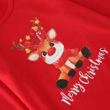 Christmas Family Matching Sleepwear Pajamas Sets Cute Deer Slogan Plaids Top and Pants With Dog Cloth