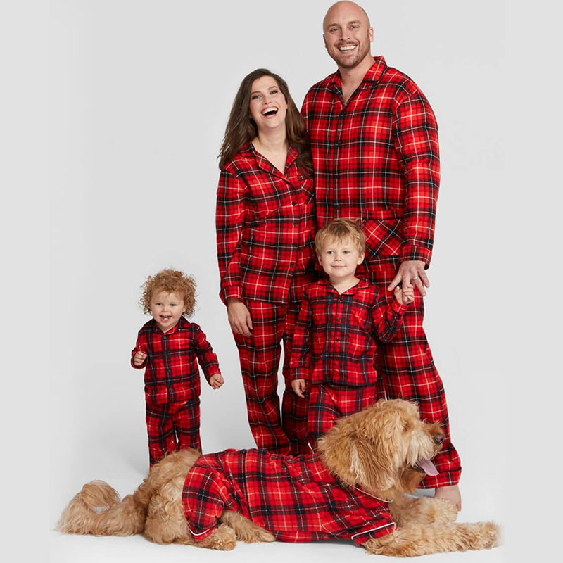 Christmas Family Matching Sleepwear Pajamas Sets Red Plaids Top and Pants
