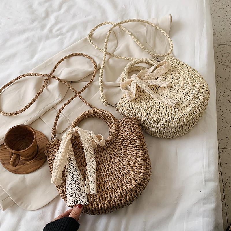 Fashion Lace Bow Woven Handbag Singer Shoulder Bag