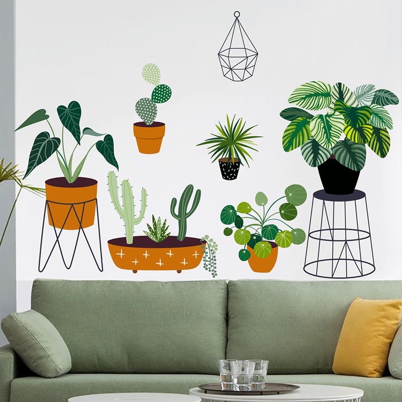 Creative Wall Paste Green Plants English Living Room Bedroom Background Wall Decoration Wall Paste