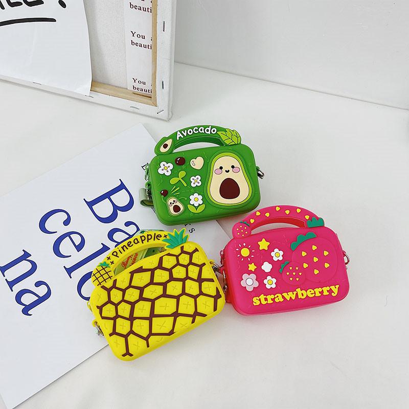 Fruit Avocado Pineapple Strawberry Silicone Coin Purse Shoulder Crossbody Bag