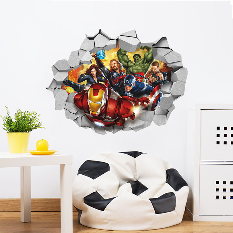 Home Decorative 3D The Avengers Wall Stickers Wallpaper