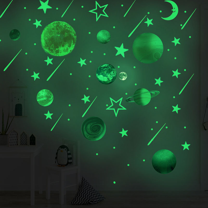 Home Decorative Creative Night Light Star Moon Planet Decorative Wallpaper Bedroom Children's Room Green Fluorescent