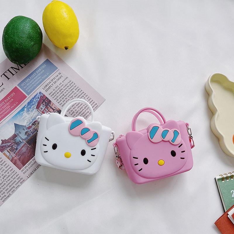 Cute Cartoon Hello Kitty Silicone Coin Purse Shoulder Crossbody Bag