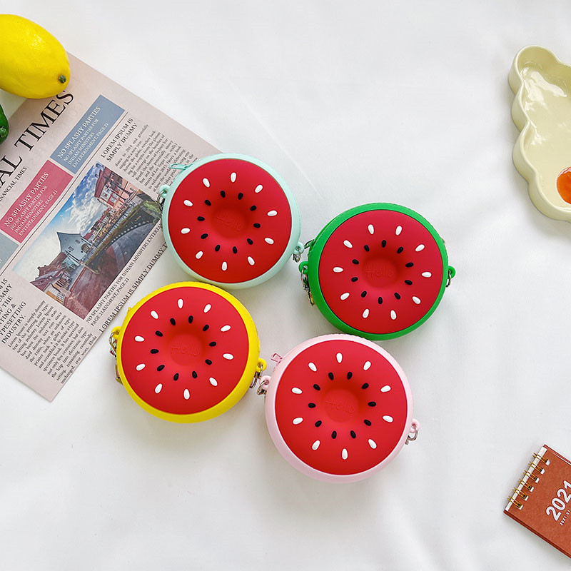 Fruit Red Watermelon Silicone Wallet Shoulder Bag Coin Purse