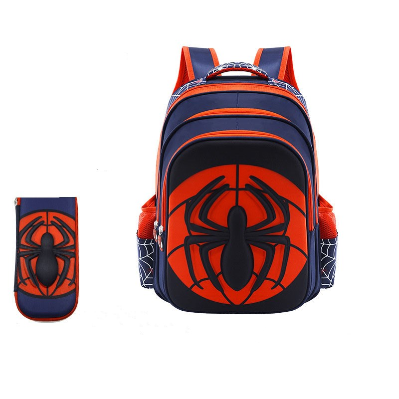 Spiderman Primary School Student Backpack Schoolbag With Pencil Box