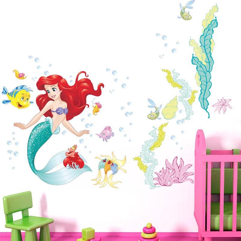 Home Decorative Mermaid Princess Wall Stickers Wallpaper Art Living Room Dormitory Bedroom Decoration
