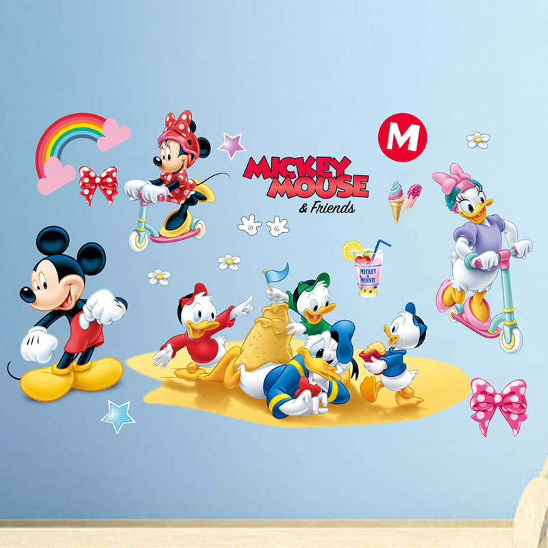 Home Decorative Mickey Mouse Minnie Friends Decoration The Children's Room Wall Stickers Wallpaper
