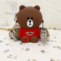 New York Brown Bear Silicone Coin Purse Single Shoulder Bag
