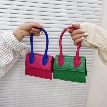 Multicolor Square Rhombic Pattern Single Shoulder Bag