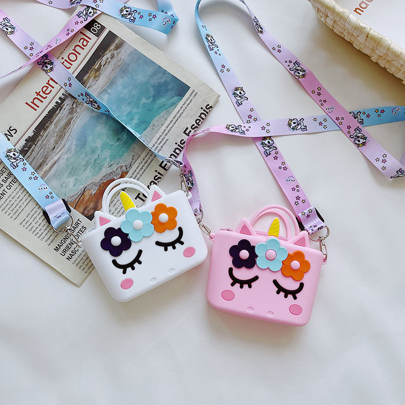 Cute Unicorn Flowers Mini Silicone Bag Single Shoulder Bag Coin Purse