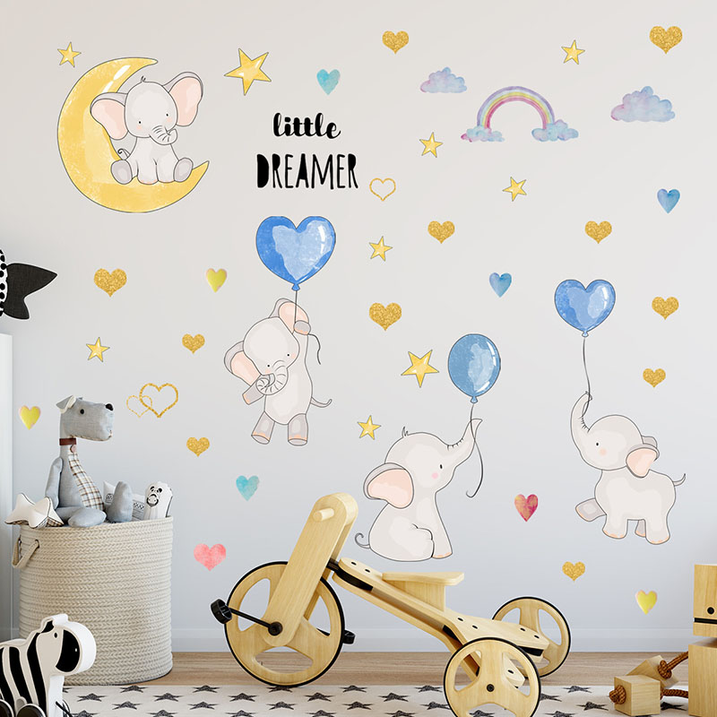 Home Decorative Elephants Balloons Rainbow Wall Sticker Children's room, Living room And Bedroom Background Decoration