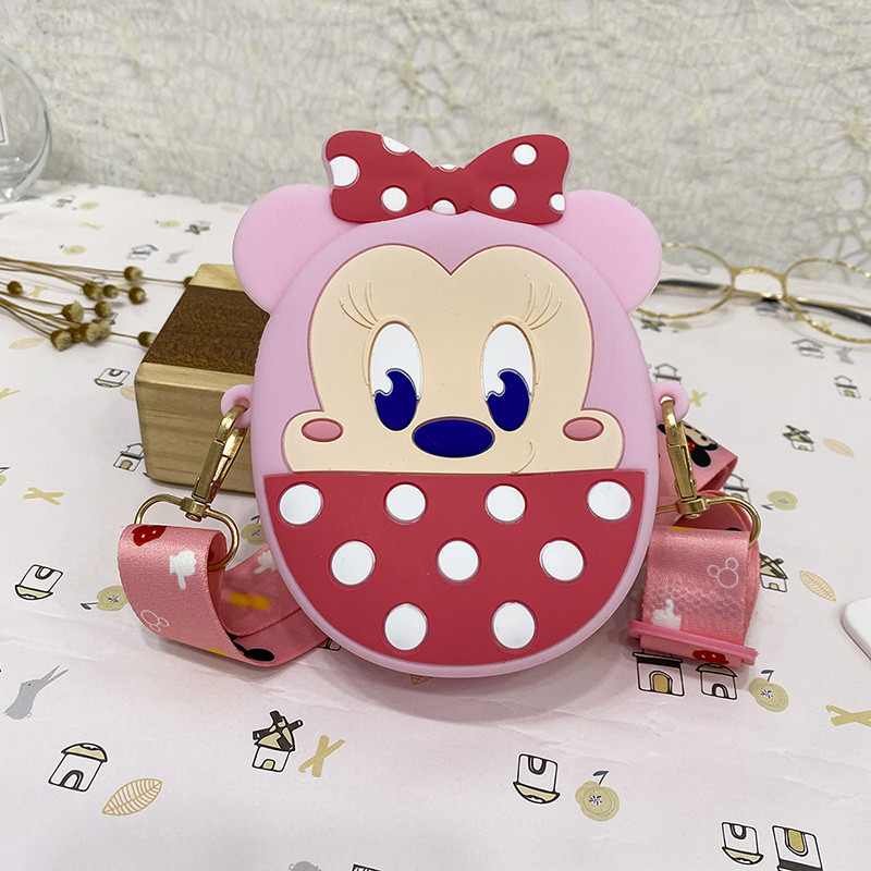 Cute Bowknot Dots Minnie Silicone Coin Purse Shoulder Bag