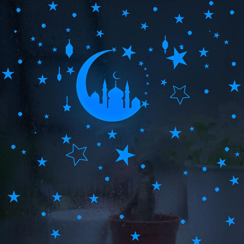 Home Decorative Luminous Paste Crescent Star Light Wall Paste Fluorescent Decorative Wall Paste