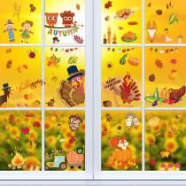 Home Decorative Thanksgiving Day Sticker Turkey Leaf Leaf Window Glass Door Sticker