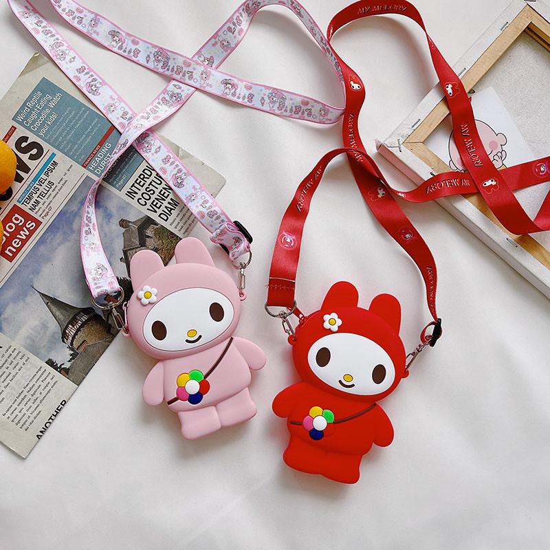 Cute Cartoon Rabbit Flowers Silicone Mini Single Shoulder Bag