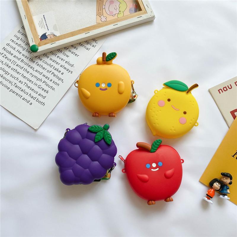 Cute Fruit Grape Orange Apple Silicone Coin Purse Shoulder Crossbody Bag