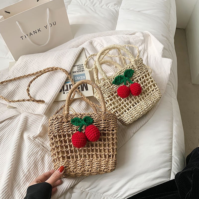 Fashion Cherry Woven Shoulder Bag Handbag