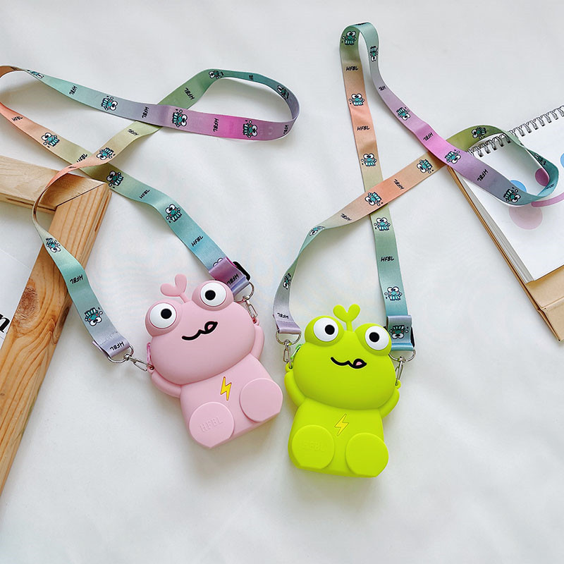 Cute Frog Silicone Wallet Shoulder Bag Coin Purse