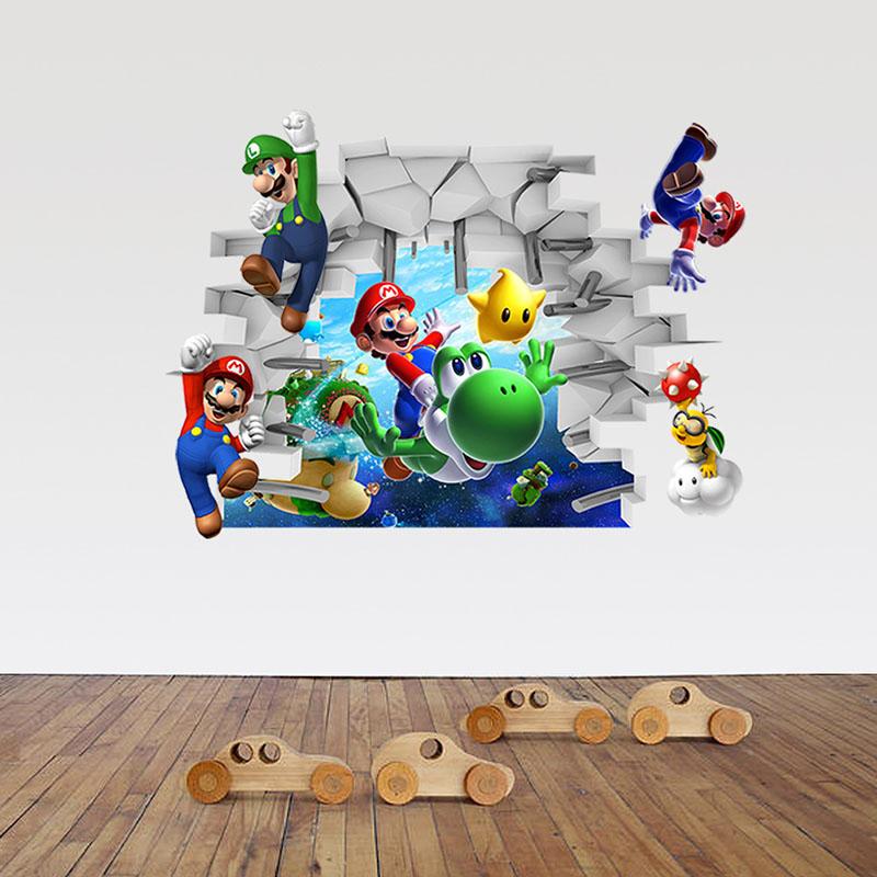 Home Decorative Super Mario Bedroom Wall Sticker Wallpaper