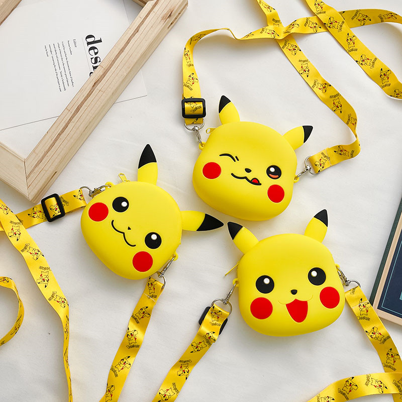Cute Yellow Pikachu Expression Silicone Single Shoulder Bag Coin Purse