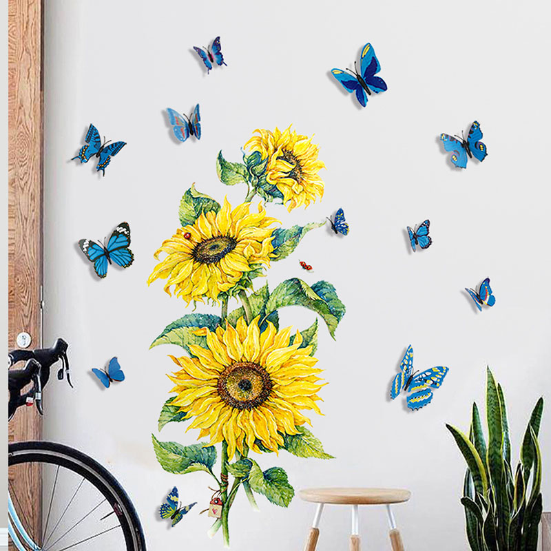Home Decorative Sunflower Wall Paste 3D Color Three-Dimensional Butterfly Personality Creativity Sticker