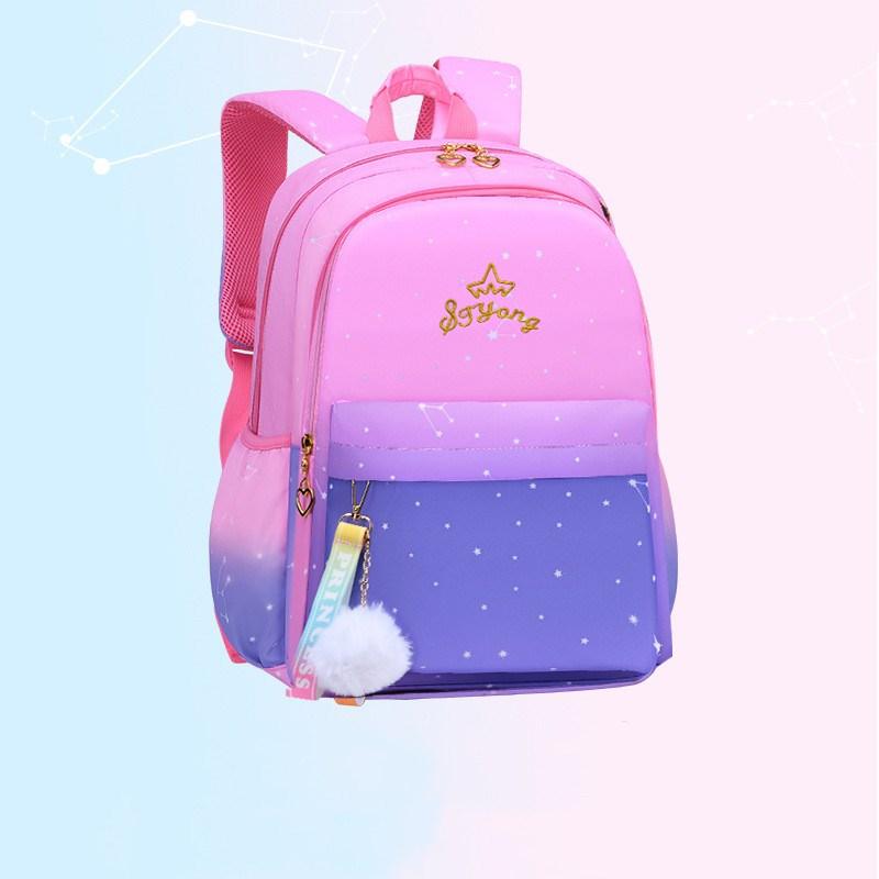 Girl Ombre Pink Purple Students Schoolbag Backpack Bag