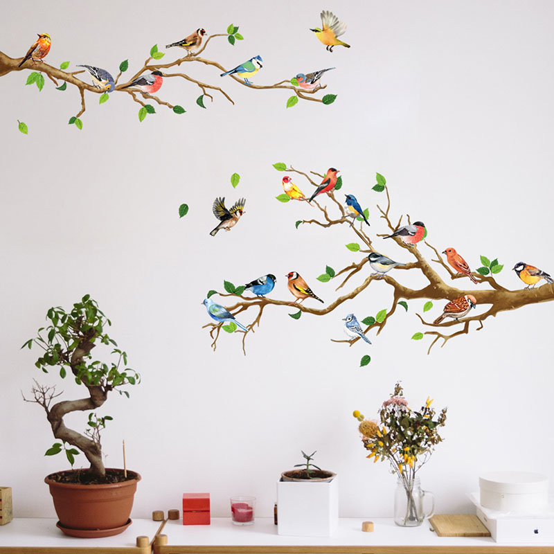 Branch Bird Wall Paste Bedroom Living Room Office Background Wall Sofa Decoration Wall Sticker